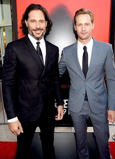 True Studs Joe Manganiello (in a John Varvatos suit) and Alexander Skarsgard posed on the red carpet during True Blood's Season 6 premiere in Hollywood June 11.