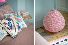 Tête de lit en peinture et lampe en tissu à poser #rose #pink #coussin #maisoncreative #lampe