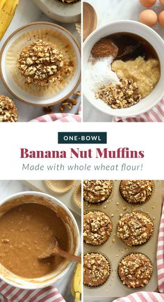 These banana nut muffins are perfectly moist with a delicious crunchy topping! You can't go wrong with a batch of these healthy banana nut muffins.