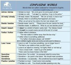 Confusing words in English #lerarnenglish
