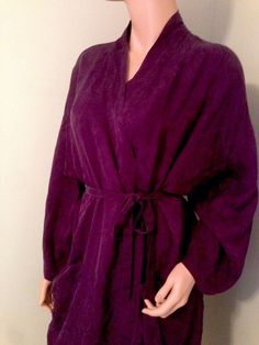 VTG womens under silk 100% purple eggplant robe sz M paisley elegant  | eBay