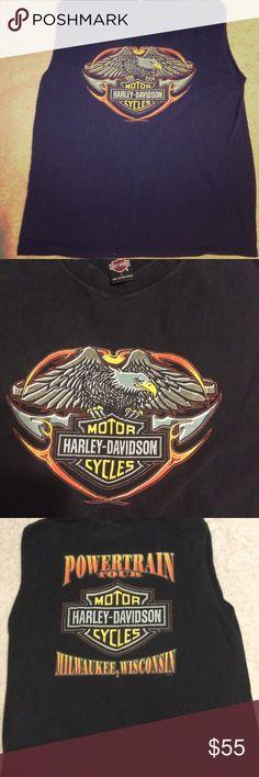 Harley Davidson Muscle T Shirt powertrain Tour Vintage Harley Davidson Muscle T Shirt Power train Tour Milwaukee Wisconsin Large Wow!   • 1998 HD  • Black Muscle Tee Harley-Davidson Shirts