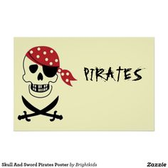 Shop Skull And Sword Pirates Poster created by Brightkids. Skull Wall Art, Wood Wall Art, Wall Art Decor, Retail Supplies, Party Chairs, Kids Party Themes, Party Ideas, Customized Girl, Skull Painting