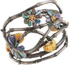 ☮ American Hippie Bohemian Boho Style ~ Jewelry .. Beautiful Flower Cuff Bracelet