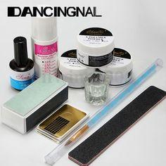Kit Nail Art Ongles Acrylique Liquide Poudre Pinceau Base Godet UV Gel Manucure