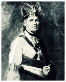 Joseph Brant, chieftain of the Mohawk, who chose to side with the British during the War for Independence. Brant led Tory and Indian raids against the settlements along the frontier. General John Sullivan, who was given the task by Washington to put an end to this problem, went into the Iroquois country and laid waste to it, destroying crops, villages, and food supplies, from which the Six Nations never recovered.