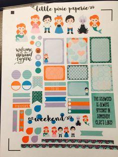 Mermaid Little Weekly Planner Stickers, Erin Condren Planner Stickers, Happy Planner Stickers