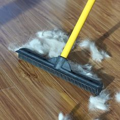 """Promising Review: """"This thing just plain works. We got a mature golden retriever last year and were told he didn't shed. Then in the spring he started shedding badly. I found this product on a whim one day and knew it had to be better than my shoe! The backside is more like a squeegee and helps pull the hair up in long rolls and keeps the hair in one big pile."""" —Nick V.Get it on Amazon for $5.52 Or, after washing the dishes, use your wet gloves to wipe up errant dog or cat hairs."""