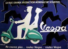 Vespa / VILLEMOT / La plus grande production mondiale de scooters... Ne courez plus... roulez Vespa... / A.G.P.P. Paris Aff. Entoilée. B.E. B + Traces de plis. Déchirures restaurées. Taches d'humidité.… - Tessier & Sarrou et Associés - 04/03/2014