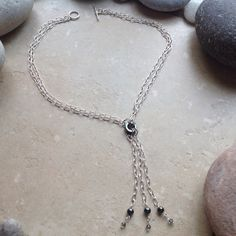 Double Chain and Hematite Dangle Necklace