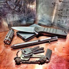 "everydaycarry: "" • - Ray Laconico Small Jasmine Flipper • - Muyshondt Titanium Aeon Mk. II • - Brian Fellhoelter TiBolt Pen • - Fireti Omega Titanium Wallet • - Kingston DataTraveler SE9 16GB USB..."