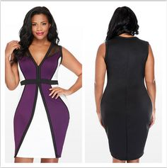 Slim Package Hip Sexy Bodycon Nightclubs Sleeve V-neck Color Matching Dress Office Ladies Work Pencil Party Dress Plus Size Best Plus Size Dresses, Plus Size Cocktail Dresses, Cheap Dresses, Dresses For Work, Office Ladies, Office Outfits, Pencil Dress, Sexy, Party Dress