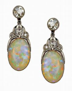 A pair of Edwardian opal and… - The Jewellery Auction; Pre-Owned Luxury Auction - Leonard Joel Pty. Ltd. - Antiques Reporter