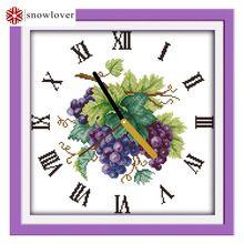 Costura, DMC DIY de punto de cruz kits Completo, conjuntos para el Bordado Púrpura reloj de uva 11ct impreso punto de Cruz decoraciones para el hogar(China (Mainland))