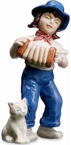 "Amazon.com: custom & Unique {5.1"" Inch} 1 Single, Home & Garden ""Standing"" Figurine Decoration Made of Grade A Genuine Porcelain w/ Little Boy Playing Accordion Style {Red, White, & Blue Color}: Home & Kitchen"
