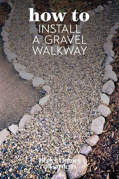 This gravel walkway is an inexpensive and informal option for getting around a yard. You can make a stone walkway any width, depending on whether it will be used for solitary strolling or for walking side by side. Larger stones placed along the edges of this DIY walkway act as a barrier to keep gravel from spreading into planting beds. #walkwayinstallation #gardenwalkway #landscaping #gardenideas #gravel #bhg