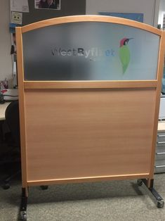 Logos can be applied. Solid beech outer arch top frame and wipe clean lowers. Screen Plus can apply any logo or branding. Timber Screens, Security Screen, Screen Design, Trellis, Cleaning Wipes, Storage Chest, Arch, Branding, Flooring