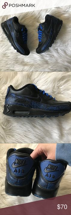 Nike Air Max '90 Black and blue Nike Air Max '90 sneakers great condition size youth 4.5 fits a women's 6.5 design is Varsity Blue Nike Shoes Sneakers