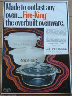 1970 FIRE KING ANCHOR HOCKING AD OVENWARE MEADOW GREEN CANDLE GLOW CRYSTAL CLEAR