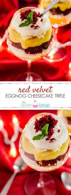 Red Velvet Eggnog Cheesecake Red Velvet Trifle - with red velvet cake, eggnog pudding, and horchata-spiked whipped cream! Trifle Desserts, Easy Desserts, Delicious Desserts, Dessert Recipes, Yummy Food, Baking Recipes, Dessert Shooters, Party Recipes, Cookbook Recipes