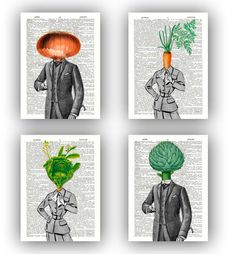 Kitchen art Print, Vegetable prints, Set 4 prints,carrot, cabbage lady, onion,  artichoke man, print paper dictionary, botanical vegetable on Etsy, $28.50