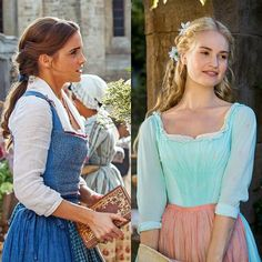 Emma as Belle and Lily as Cinderella