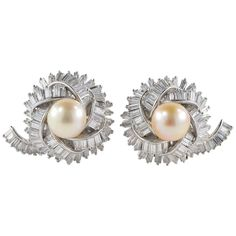 Magnificent 1950s Diamond Round Pearl Platinum Earclips | See more rare vintage Clip-on Earrings at https://www.1stdibs.com/jewelry/earrings/clip-on-earrings