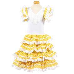 Spaanse jurk satijn geel/wit www.laluzz.nl