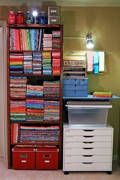 Pretty fabric storage - sewing room
