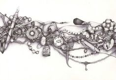Andrea Joseph drawing in ballpoint pen