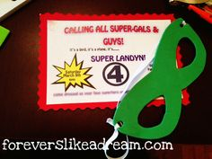 DIY superhero invitation.  Include white blank mask so the kids can decorate and bring.
