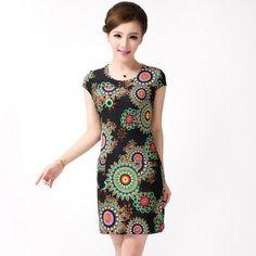 Vintage Summer Dresses #SlimPrintTunicsDress Sexy Bodycon Dress