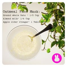 DIY Oatmeal Face Mask by Gone with the Mink A Vegan fashion blog  https://www.facebook.com/gonewiththemink http://gonewiththemink.wordpress.com/ Oatmeal goodness to start your week!