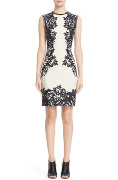 Known for intriguing prints, Yigal Azrouël strategically accentuates the feminine silhouette of this sleeveless sheath dress from the Nordstrom Anniversary Sale. A classic black and white scuba-knit fabric makes this dress easy to pair and comfortable to wear.