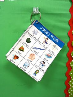 Great idea for writing stations. Monthly word charts.