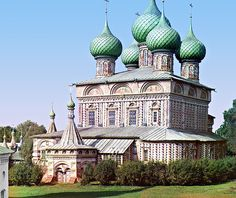 Church of the Resurrection, built in 1652;  Kostroma, Russia;  part of Russia's 'Golden Ring';  color photograph by Sergey Prokudin-Gorsky in 1910 (Library of Congress)