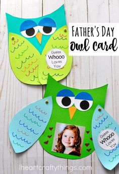 Make Father's Day special this year with this Guess Whooo Loves You Father's Day Kids Craft. A template is included to make this simple Father's Day Craft for Dad or Grandpa. Fun Father's Day gift ideas for kids. by christine Kids Crafts, Kids Fathers Day Crafts, Daycare Crafts, Fathers Day Cards, Toddler Crafts, Preschool Crafts, Projects For Kids, Gifts For Kids, Craft Projects