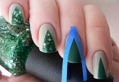 Holiday Nail Idea: Create Christmas Tree inspired nails this holiday season with and easy tape trick!