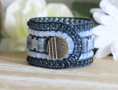 Opal Swirls Wide Beaded Leather Cuff, 5 Row, Blue and White, Blue Leather Wrap Bracelet, Handmade, Leather Bracelet