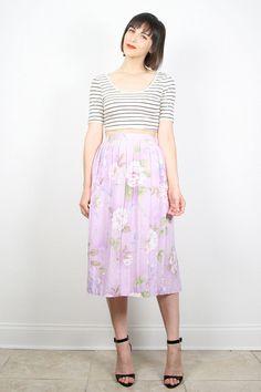 229290c6f Vintage Midi Skirt Light Pastel Lilac Purple Floral Print Skirt 1980s 80s  Pleated Skirt High Waisted Skirt Secretary Dress M Medium L Large