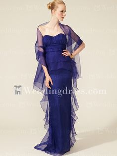 Elegant Organza Sheath Mother of the Bride Dresses with Ruffled Skirt MO020