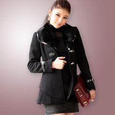 women jackets wholesale Rabbit fur collar Slim jacket k521 Black