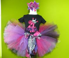 #MC Hot Pink Purple n Black Number Crown Birthday Tutu Outfit Set by PoshBabyStore.com