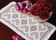 Rectangular tablecloth with hearts