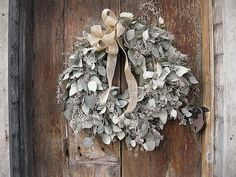 dried SEEDED EUCALYPTUS WREATH    natural winter holiday decoration  for door or wall