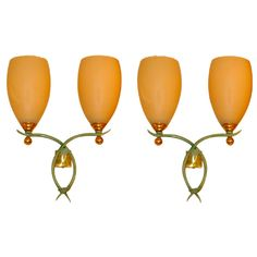 Pair of Oversized Double French Sconces Attributed to Rene Prou