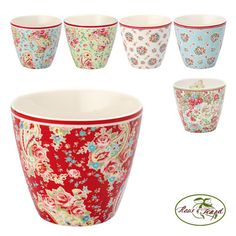 GreenGate Latte Cups - beautiful dinnerware & linens from this Danish maker; color palettes remind me of Cath Kidston. #home #kitchen