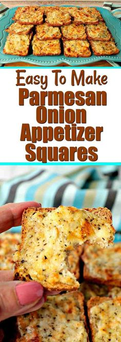 Whenever I serve these Parmesan Onion Appetizer Squares, they're always a hit! They have a light onion flavor, crispy yet creamy texture, and a tiny and unexpected touch of sweetness that everyone loves! - Kudos Kitchen by Renee - www.kudoskitchenbyrenee.com #appetizers #cheese #easyappetizer #onion #parmesan #driedherbs #onebowlrecipe