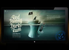 The Red Bonny Dark Rum website adopts the same intricate illustration as the marketing collateral.