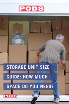 Trying to decide the right size for your storage needs? It's a balance between having enough space, but not TOO much space that you feel over-invested. Whether you're storing in a portable container or at a storage unit, start with this handy storage unit size guide! #ContainingTheChaos #PODS Storage Unit Sizes, Self Storage Units, Storage Spaces, Container Company, Container Size, Pods Moving And Storage, Home Estimate, Do You Need, Small Studio